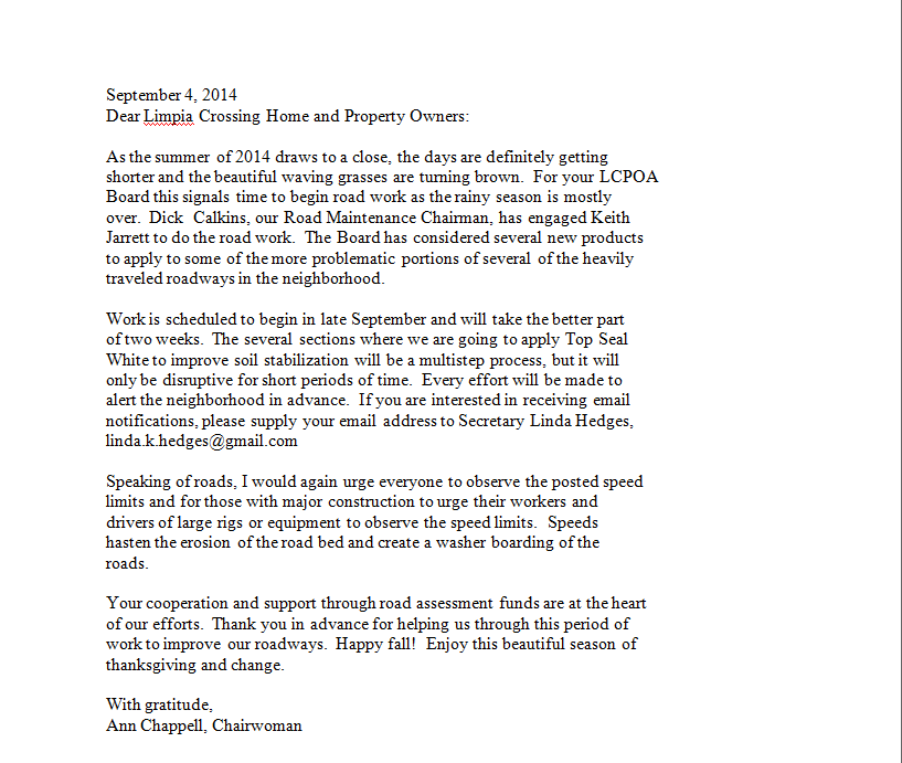 Letter from Ann Chappel chairwoman September 4 2014